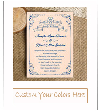 navy blue and peach blush vintage wedding invitation card for 2015 EWI338