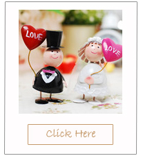 romantic bride and groom wedding cake toppers with heart shaped balloons