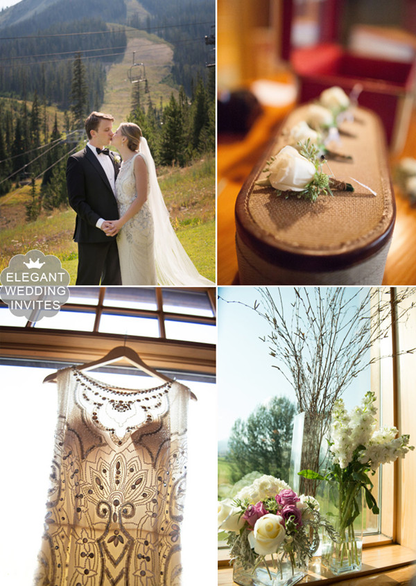 romantic mountianside chic wedding with rustic decorations