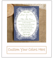 royal blue and kelly green vintage wedding invitation EWI336