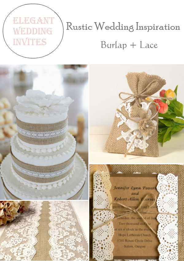 rustic burlap lace wedding inspiration decorations