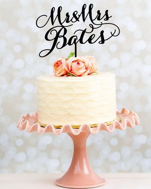 simple family name wedding cake topper