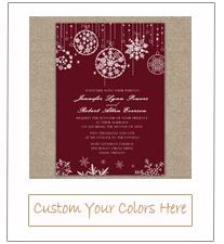 snowflake inspired sparkle red christmas winter wedding invitations with free rsvp cards