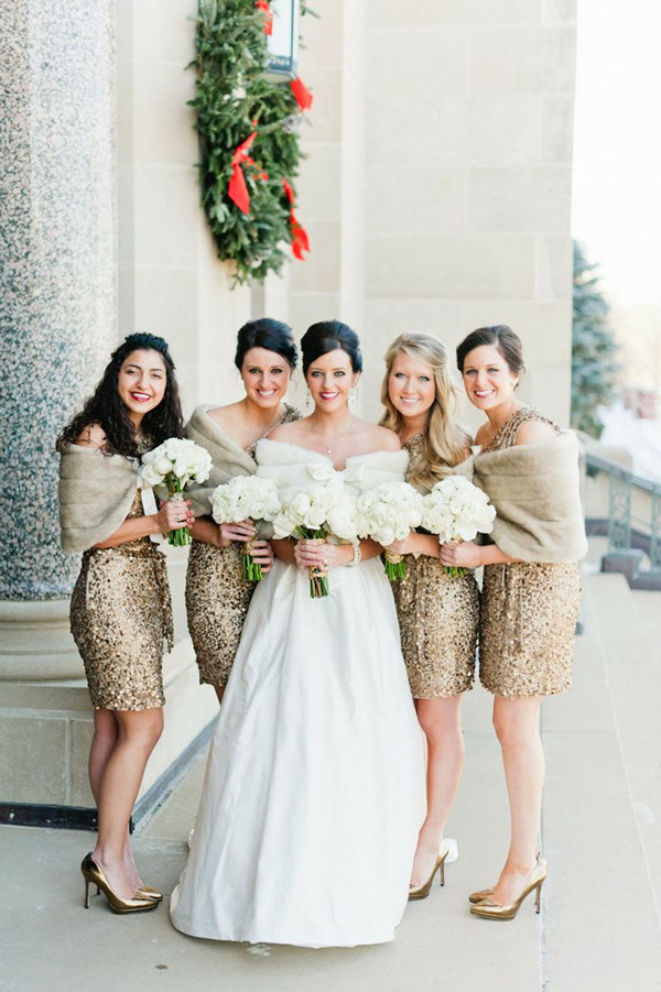 sparkle gold sequins inspired winter bridesmaid dresses for 2014 trends