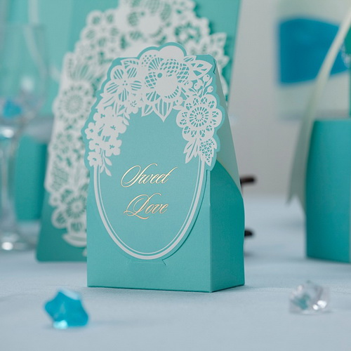 Lace Tiffany Wedding Favor Boxes