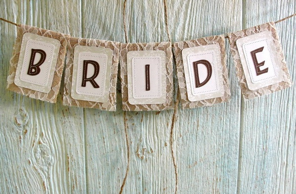 wedding bride sign burlap and lace ideas