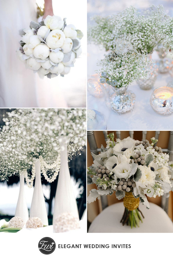 white and greens sparkle winter wedding flowers for 2014 trends