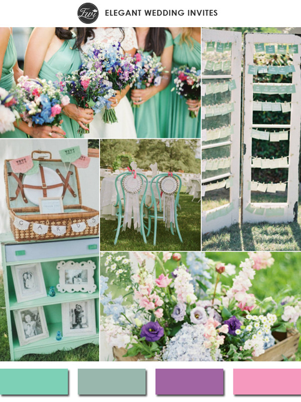 2015 spring lucite green purple and pinks wedding color ideas