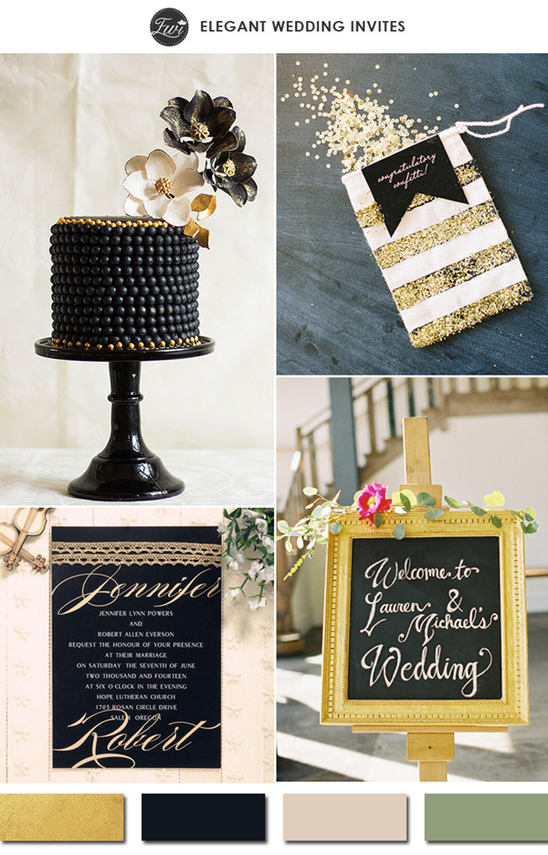 2015 trending vintage gold and black wedding color ideas