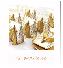 Chic Gold Silver Damask Paper Favor Boxes