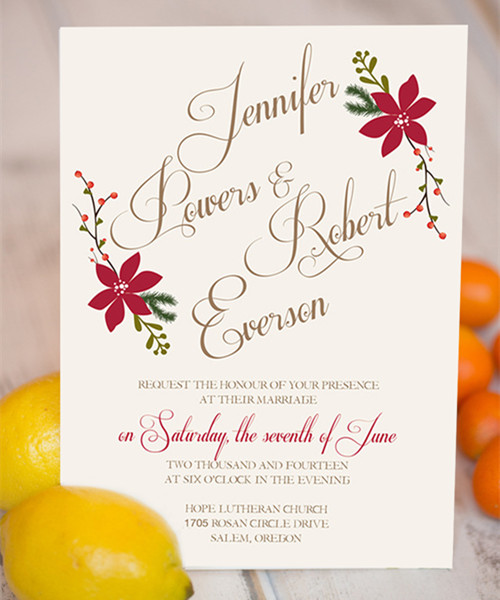 Christmas inspired red and green floral boho winter wedding invitations EWI361