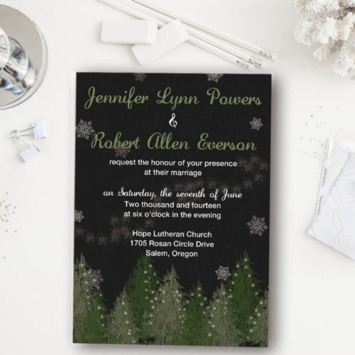 Country rustic black and silver Christmas tree inspired winter wedding invites EWI362