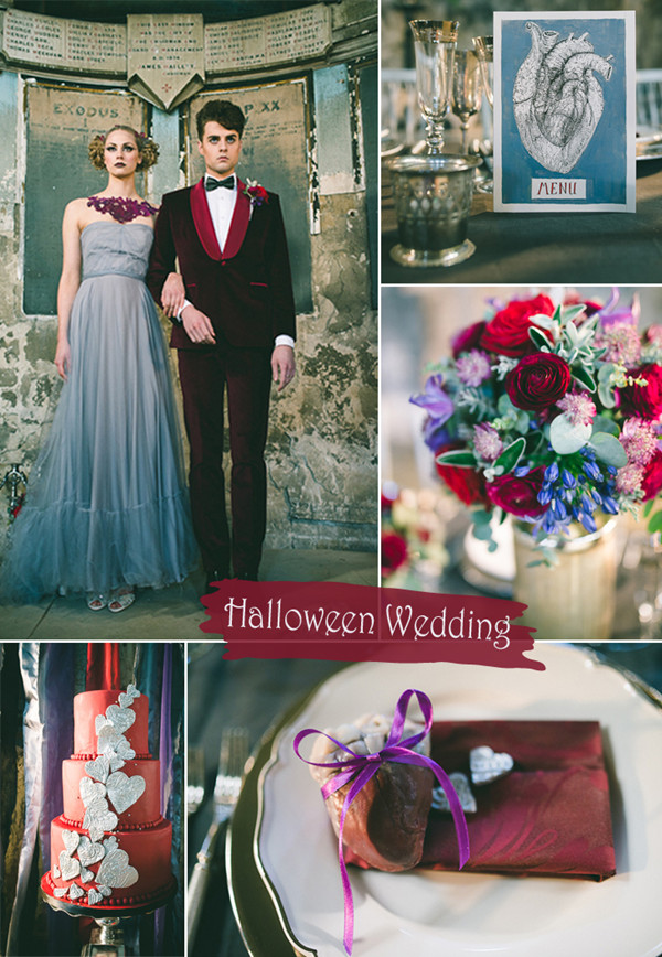 E.E Cummings Inspired Red Black and Dusty Blue Vintage Halloween Wedding Ideas
