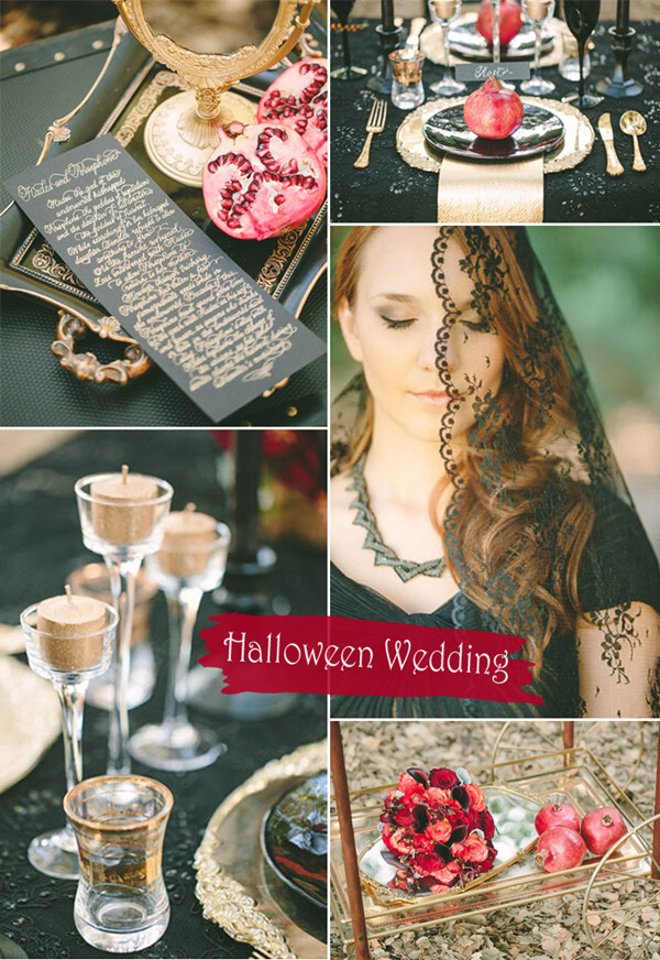 Greek Mythology Inspired Black Gold and Red Halloween Wedding Ideas