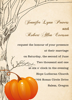 Halloween inspired rustic pumkin fall wedding invitation cards