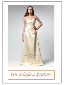 Long Strapless Yellow Satin Asymmetry Dress