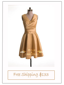 Modest Yellow Satin V-neck Short Bridesmaid Dress