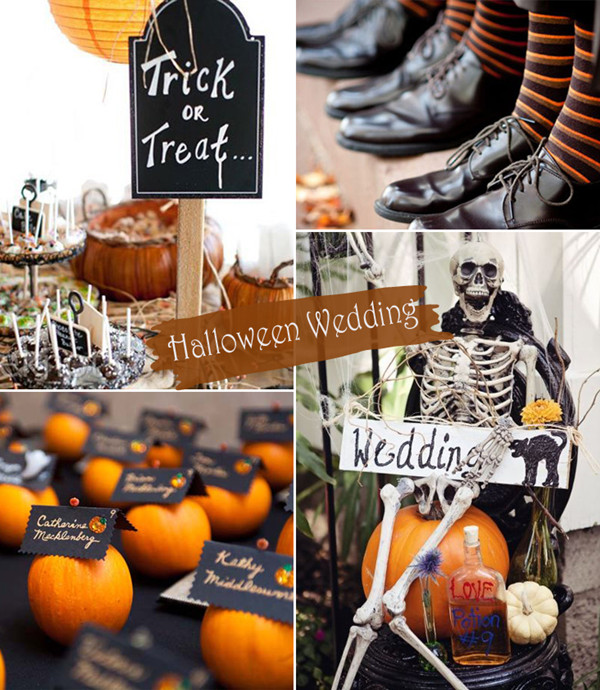Orange and Black Trick or Treat Halloween Wedding Ideas