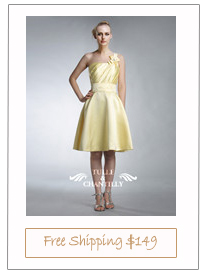 Pretty Cream Yellow Short One-shoulder Cocktail Dress