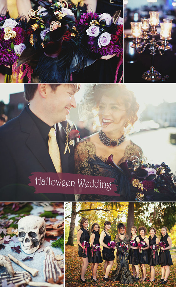 Purple and Black Gothic Halloween Inspired Fall Wedding Ideas