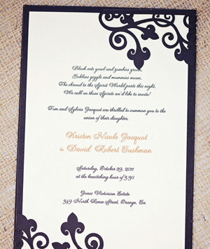 Purple and Orange Halloween Themed Wedding Invitation