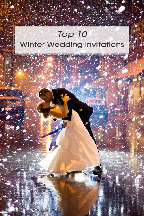 amazing winter wedding photo ideas with snowflakes and wedding invitations
