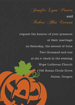 black and orange Halloween inspired pumkin wedding invites