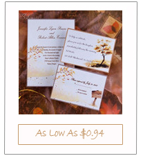 country rustic gold fall wedding invitation cards