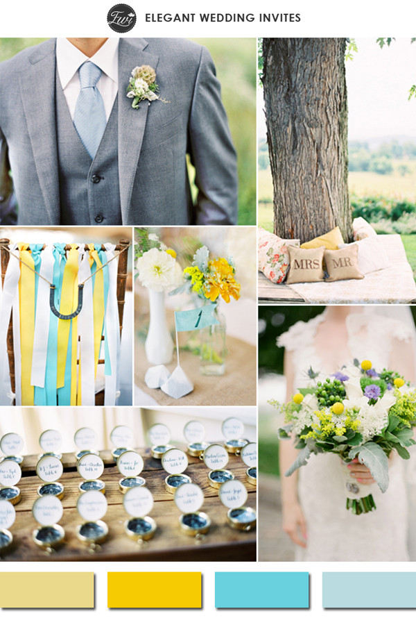 custard yellow and tiffany blue spring wedding color ideas 2015 trends