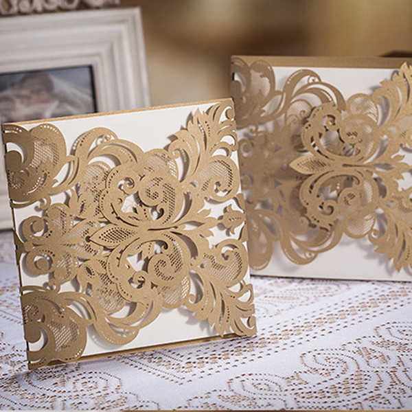 elegant laser cut lace pocket wedding invitations 2015 trends