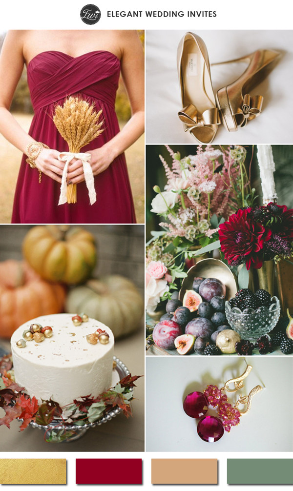 gold and burgundy red fall wedding color ideas 2015 trends
