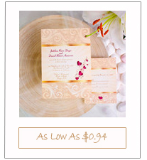 gold and hot pink elegant fall wedding invitation