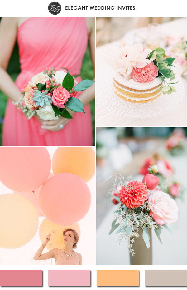 light coral strawberry ice and peach spring wedding color ideas 2015