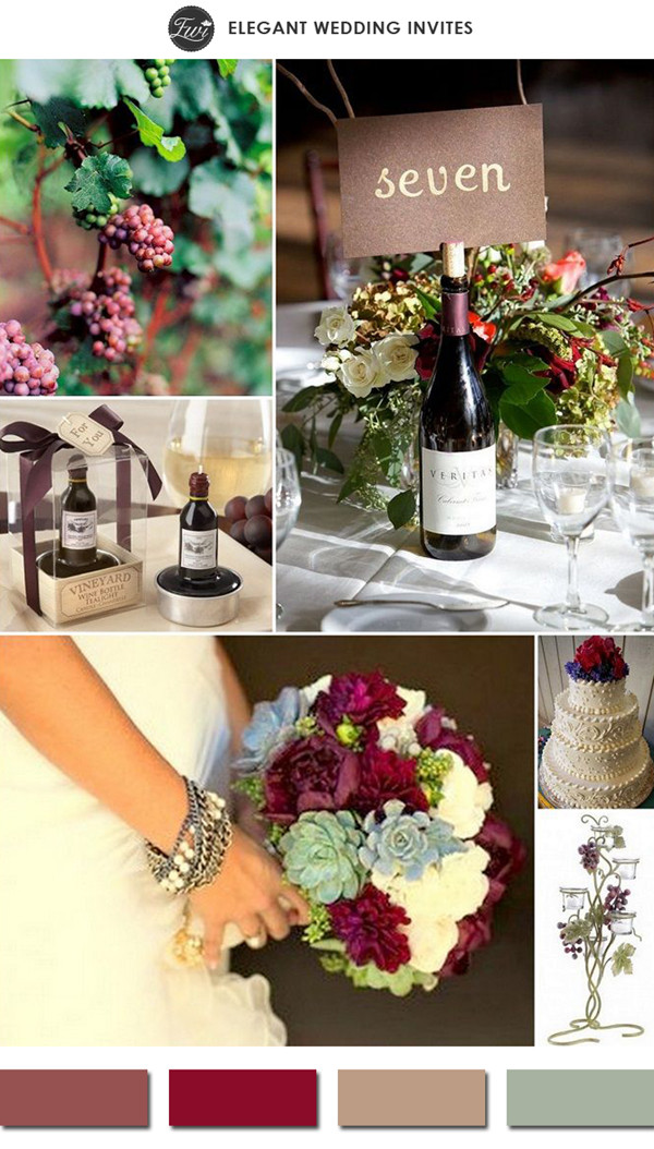 marsala wine themed deep red spring wedding color ideas 2015