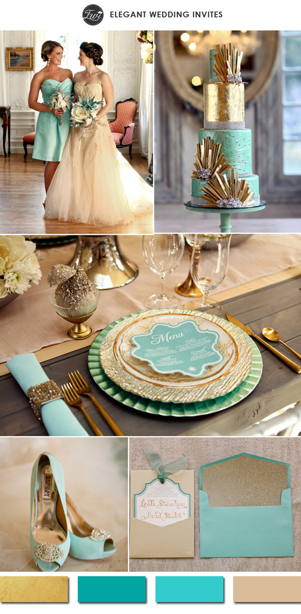 metallic gold and teal tiffany inspired vintage wedding color ideas 2015