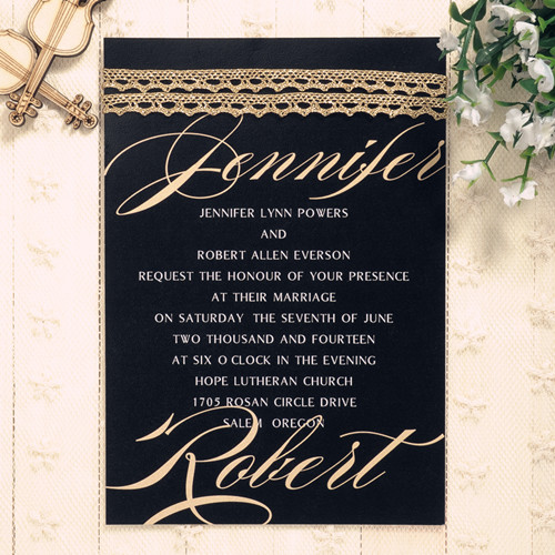 modern black and gold sparkle winter lace wedding invitations EWLS036