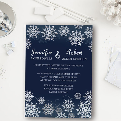 navy blue and silver snowflake inspired winter wedding invitation EWI368