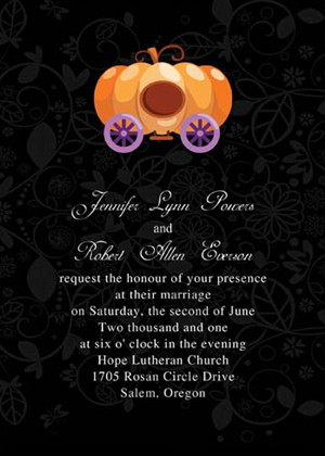 purple orange and black Halloween inspired pumkin wedding invitations