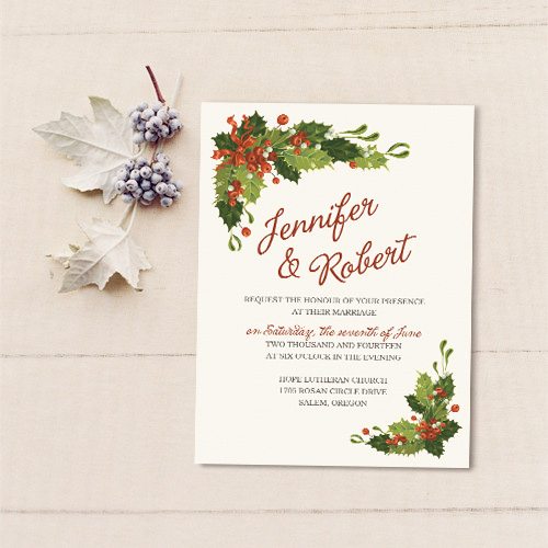 red and green floral Christmas inspired winter wedding invitation EWI360