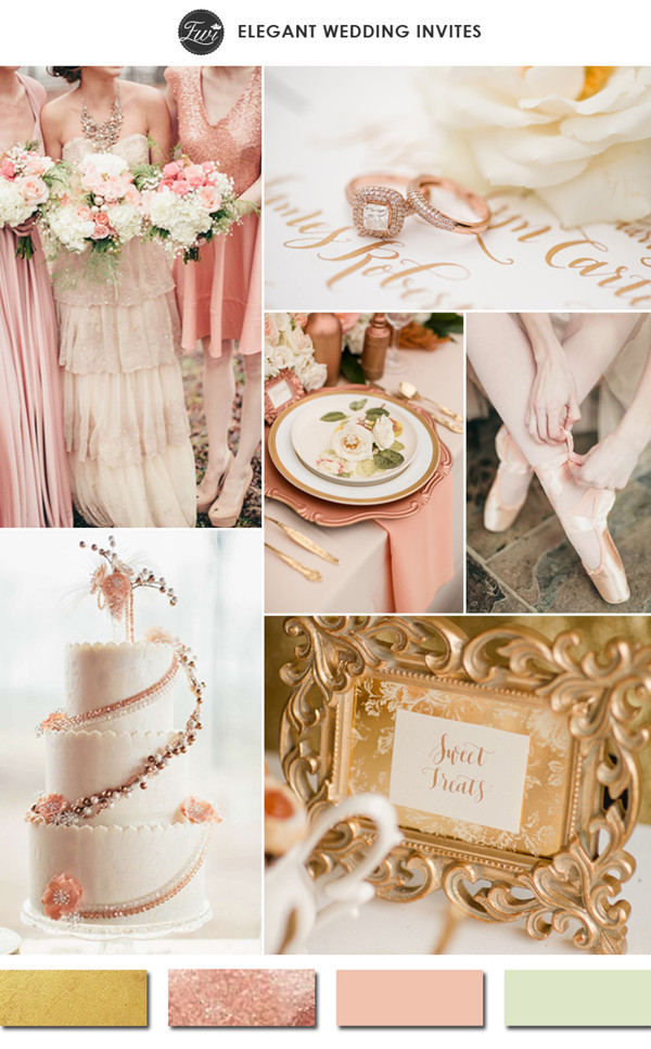 rose gold and blush with hint of sage green wedding color ideas for 2015 trends