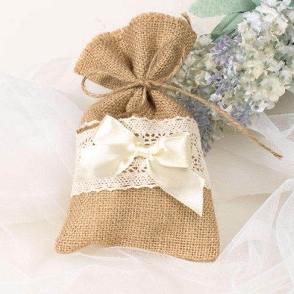 rustic burlap and lace wedding favor bags for intimate wedding ideas
