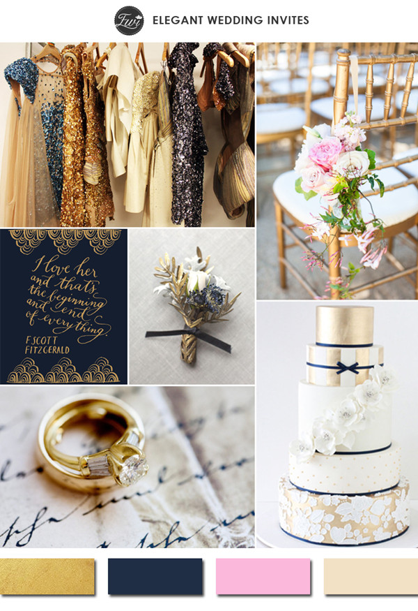 sparkling gold navy blue and pink vintage wedding color ideas 2015 trends