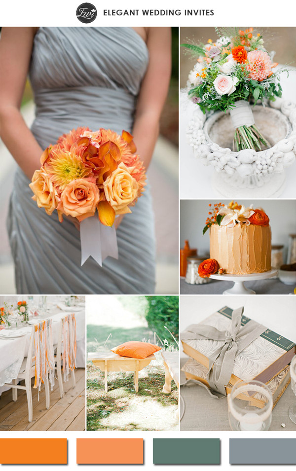 trending tangerine and gray spring wedding color ideas 2015