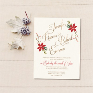 Affordable Christmas Mistletoe Winter Wedding Invites With Free Rsvp Cards
