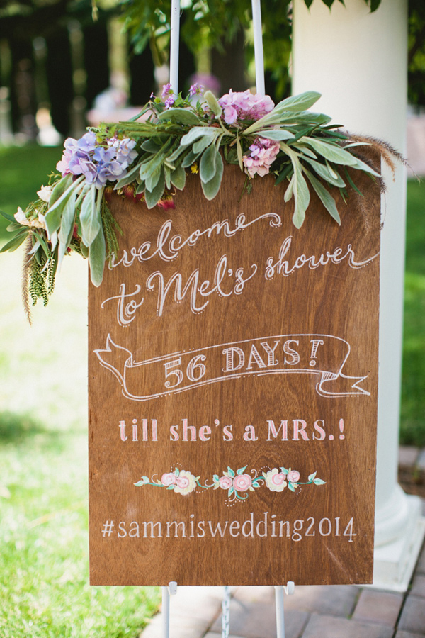 chic vintage bridal shower signs with instagram hashtag