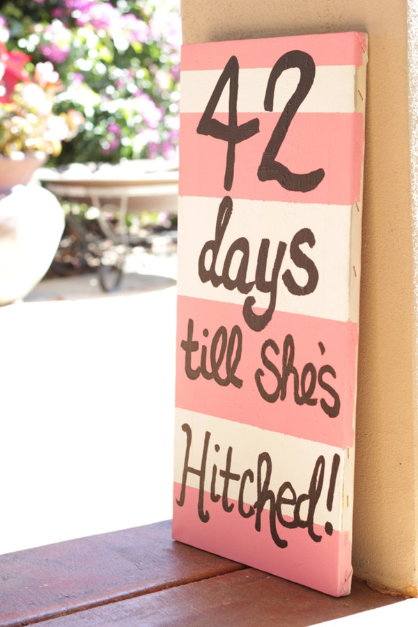 coral striped bridal shower signs for outdoor wedding shower parties