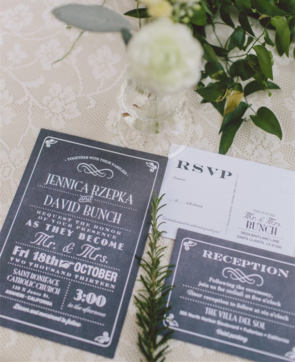 country rustic chalkboard wedding invitation cards
