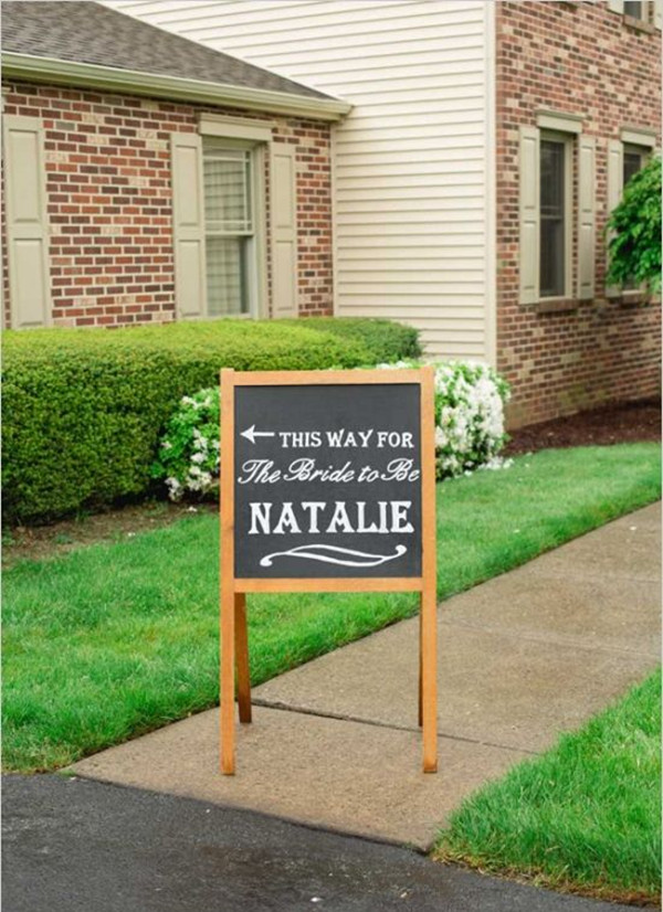 country themed wooden chalkboard bridal shower signs
