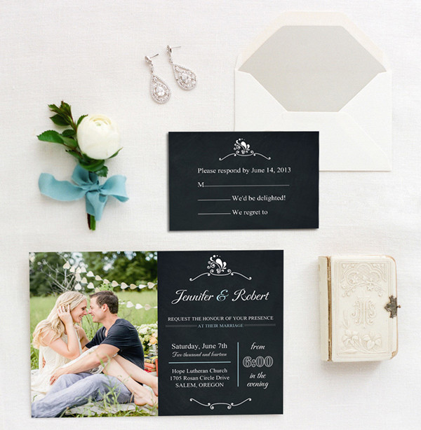 countryside photo wedding invitations with chalkboard backgrounds