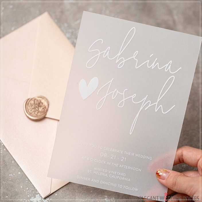 frosted vellum white painting calligraphy wedding card